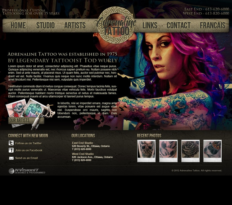 Website & Print Design  Adrenaline Tattoo  Ottawa Web. Not Graduating High School On Time. Red Minnie Mouse Invitations. Hours Of Operation Sign. Party Planning Checklist Template. Nursing Resume Template Word. Return Policy Template. Letter Pad Design Template. Free Grade Book Template
