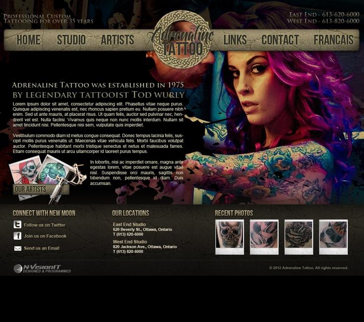 website print design adrenaline tattoo ottawa web design mobile app development. Black Bedroom Furniture Sets. Home Design Ideas