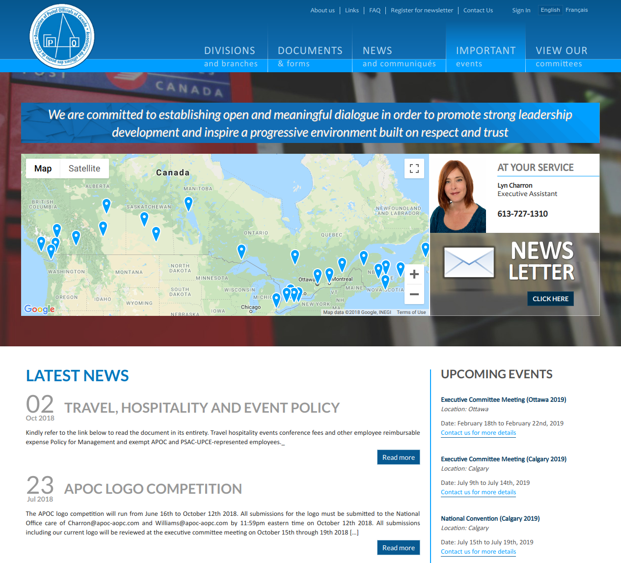 Association of Postal Officials of Canada Homepage (https://www.apoc-aopc.com)